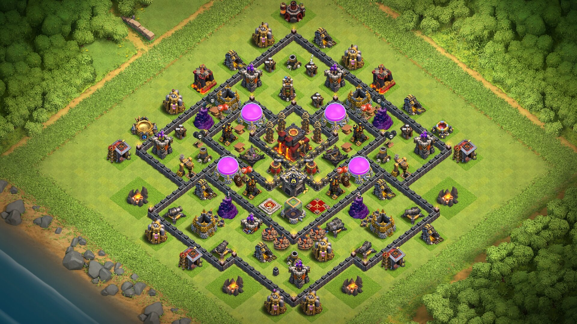 New Town Hall 9 (TH9) Base 2018 with CC in Center