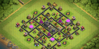 New Town Hall 8 (TH8) Trophy Base 2018 with CC in Center!