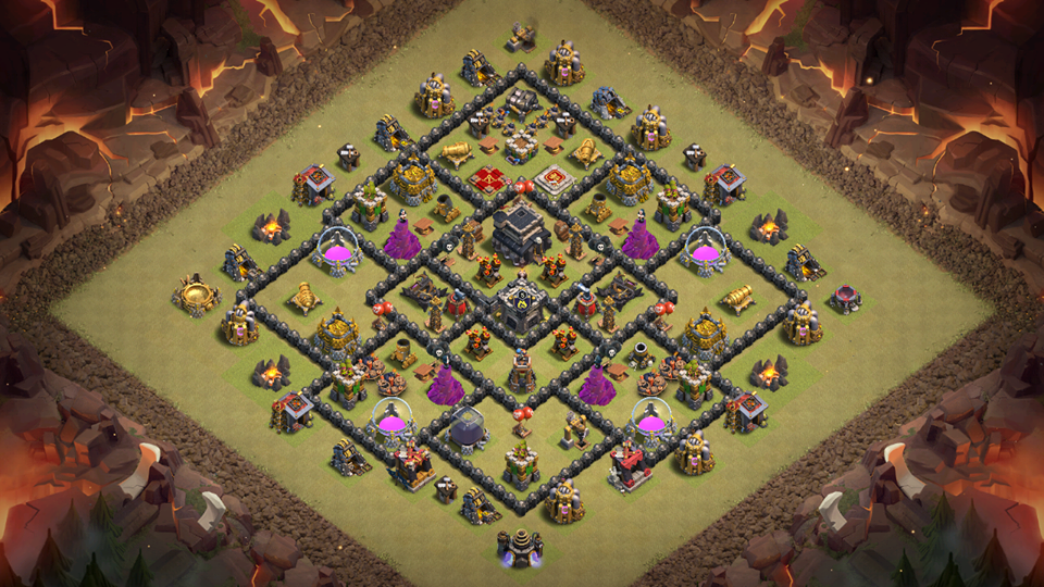 NEW Town Hall 9 WAR BASE 2018 with CC in Center AnTi 3 Star