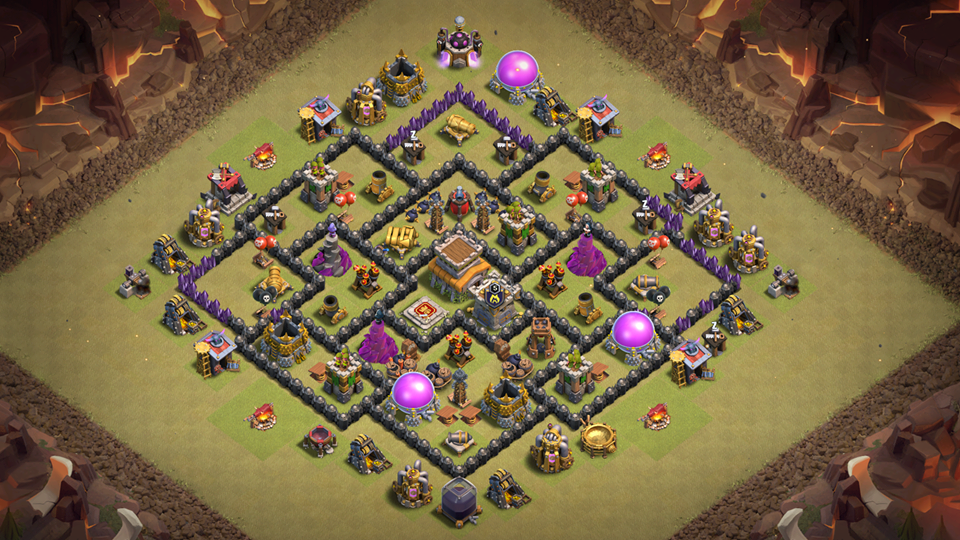 Clans Town Hall 8 War Base 2018 August