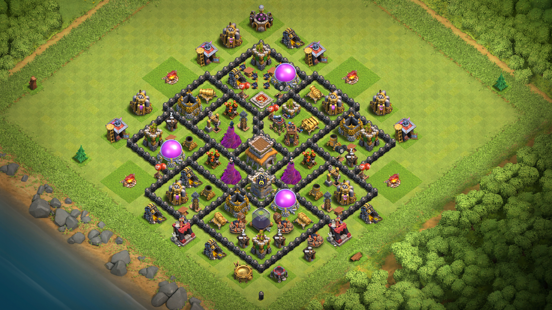 COC TH8 Base Hybrid 2018 with REPLAY