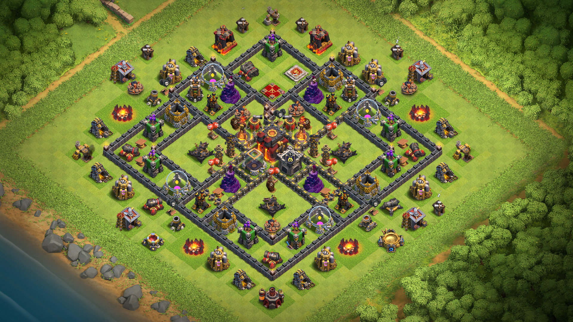 NEW Clash of Clans TH10 Inferno & X-bows Island base 2018