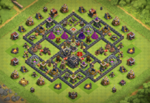 New TH9 Dark Elixir farming base X-Bows Island