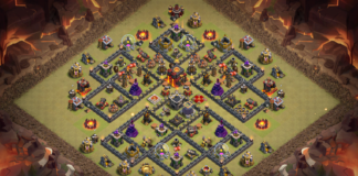 TH10 WAR BASE WITH CLAN CASTLE IN CENTER