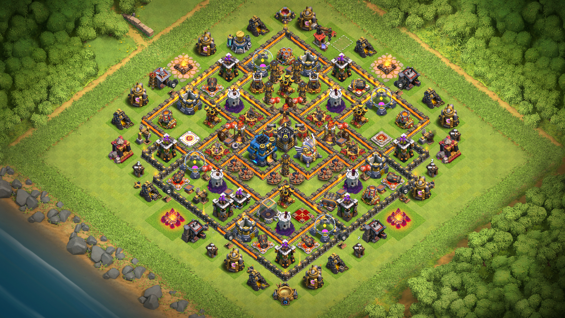 TH12 Trophy Base Layout with Base Copy Link - Base of Clans